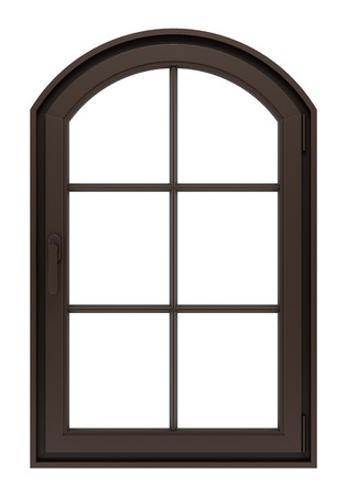 window: brown wooden window isolated on white background