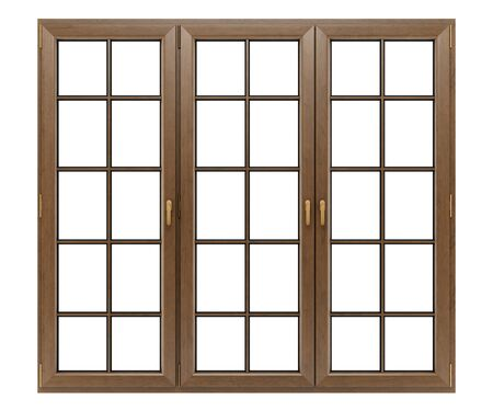 wooden window: brown wooden window isolated on white background