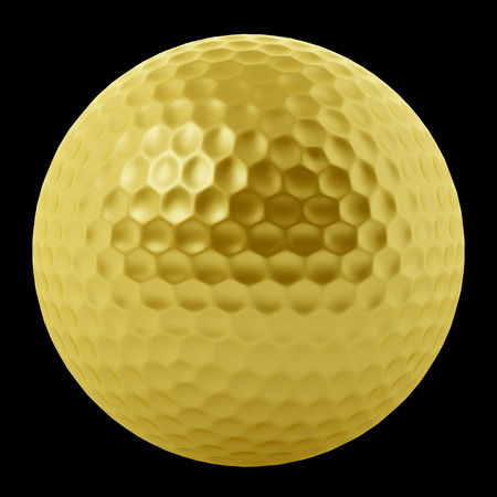 golden ball: golden golf ball isolated on black background