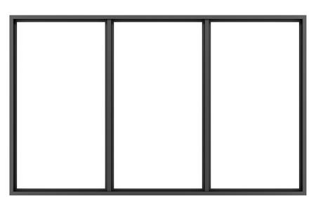 白い背景の分離された黒い金属ウィンドウ