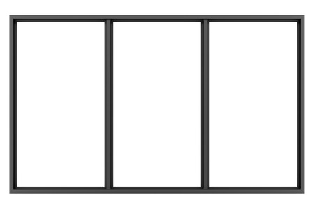 black and white frame: black metallic window isolated on white background