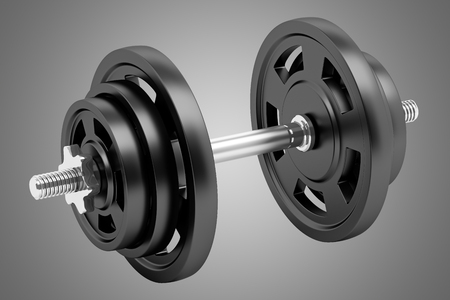 isolated on gray: dumbbell isolated on gray background
