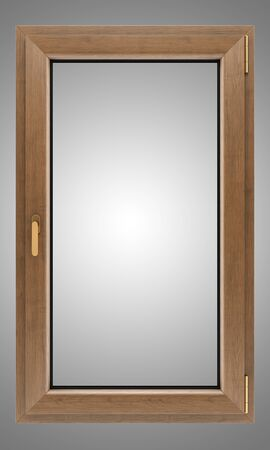 marco madera: brown wooden window isolated on gray background Foto de archivo
