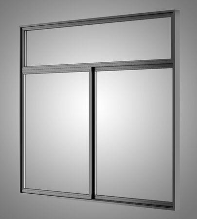 metallic: black metallic window isolated on gray background Stock Photo