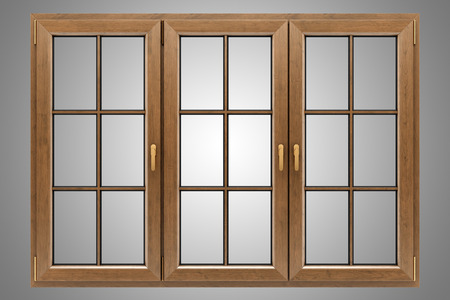 wooden window: brown wooden window isolated on gray background Stock Photo