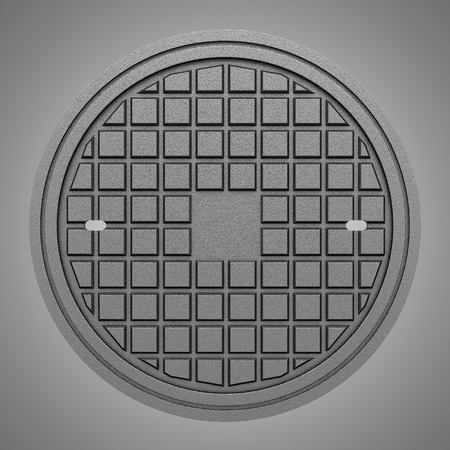 manhole: metallic manhole cover isolated on gray background