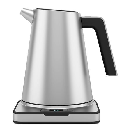 electric kettle: gray electric kettle isolated on white background