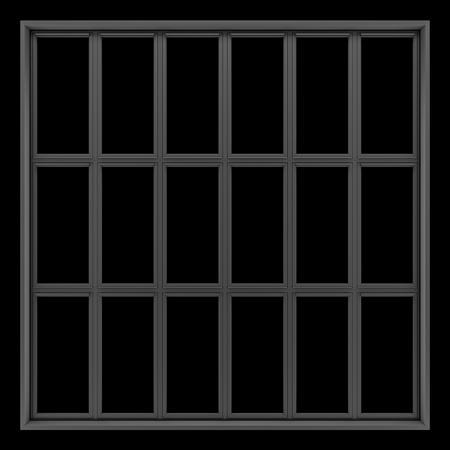 window frame: black metallic window isolated on black background Stock Photo