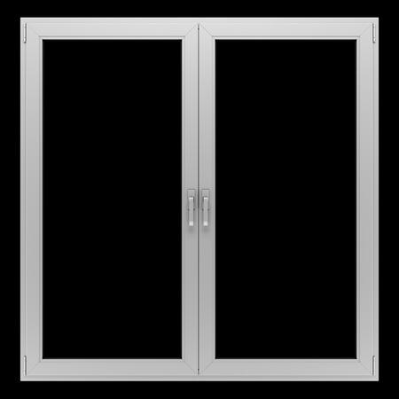 metallic: gray metallic window isolated on black background Stock Photo