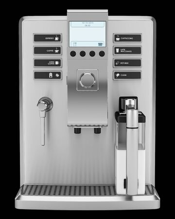 machines: modern coffee machine isolated on black background Stock Photo