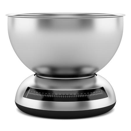 kitchen scale: metallic kitchen scale isolated on white background Stock Photo