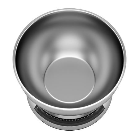 kitchen scale: top view of metallic kitchen scale isolated on white background