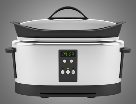 slow cooker: slow cooker isolated on gray background Stock Photo