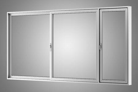 metallic: gray metallic window isolated on gray background Stock Photo