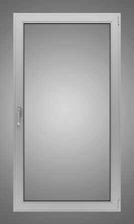 isolated on gray: gray metallic window isolated on gray background Stock Photo