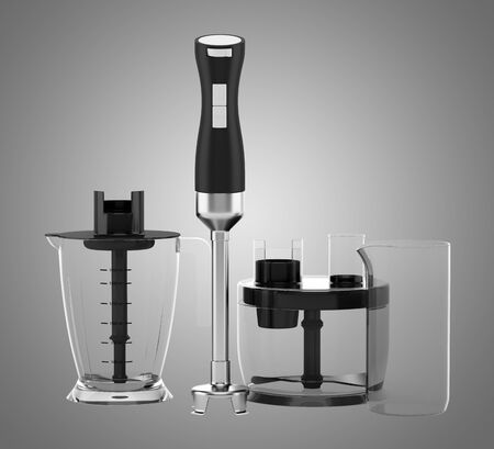 immersion: immersion blender with accessories isolated on gray background