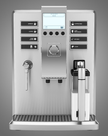 coffee maker: modern coffee machine isolated on gray background