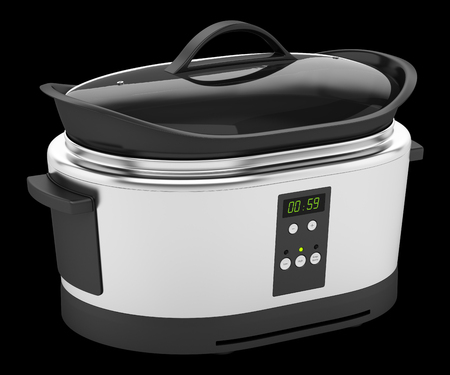 slow cooker: slow cooker isolated on black background