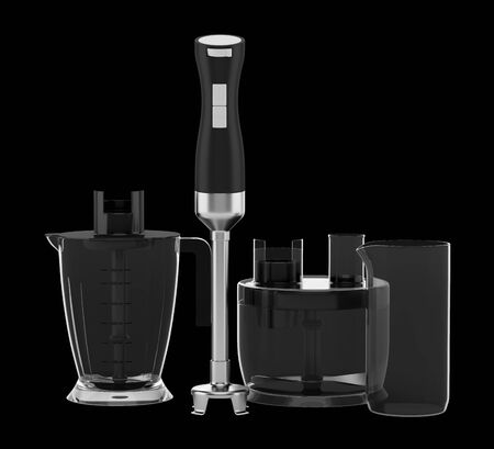 immersion: immersion blender with accessories isolated on black background Stock Photo