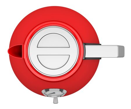 electric kettle: top view of red electric kettle isolated on white background