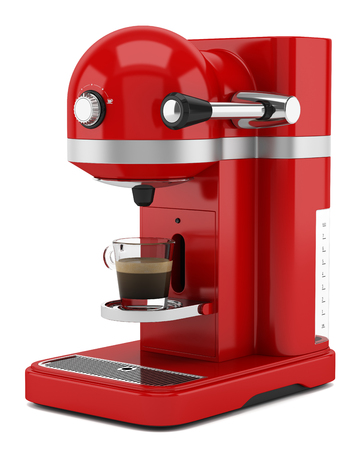 coffee maker: red coffee machine isolated on white background Stock Photo