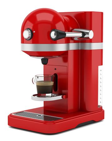 rote Kaffeemaschine isoliert auf weißem Hintergrund