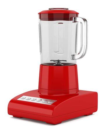 licuadora: licuadora encimera de color rojo sobre fondo blanco Foto de archivo