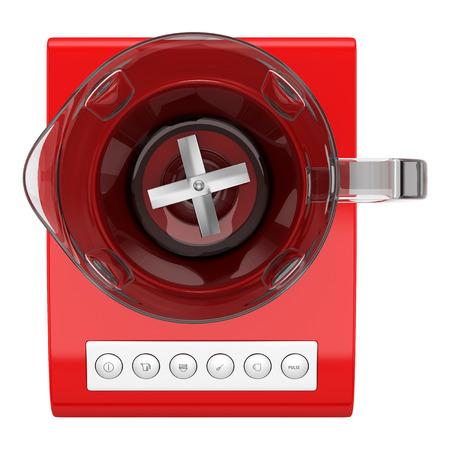 licuadora: vista desde arriba de la licuadora encimera de color rojo sobre fondo blanco Foto de archivo