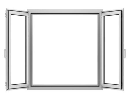white window: open metallic window isolated on white background