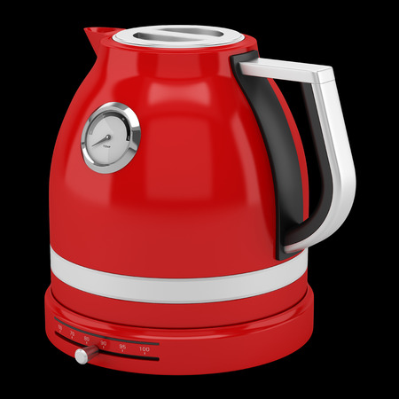 electric kettle: red electric kettle isolated on black background