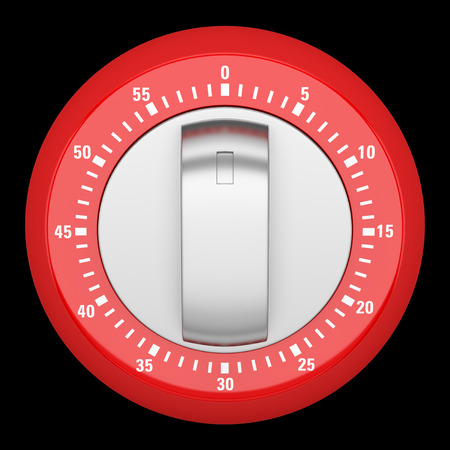 timekeeper: top view of red modern kitchen timer isolated on black background Stock Photo