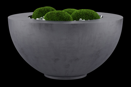 moss: moss pot isolated on black background Stock Photo