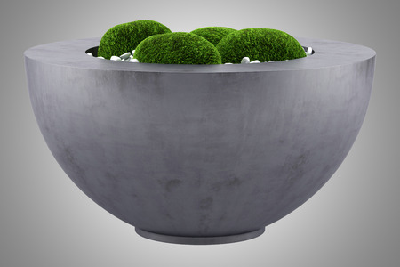 isolated on gray: moss pot isolated on gray background Stock Photo