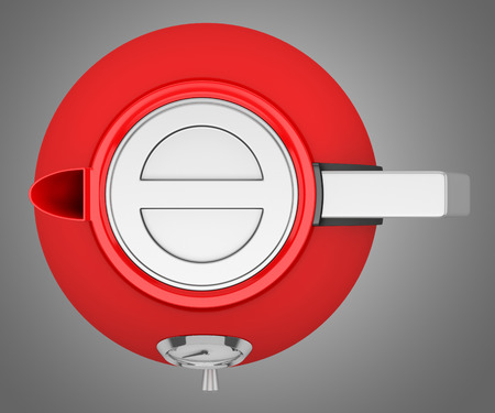 electric kettle: top view of red electric kettle isolated on gray background