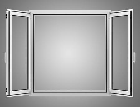 isolated on gray: open metallic window isolated on gray background