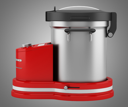 food processor: red food processor isolated on gray background