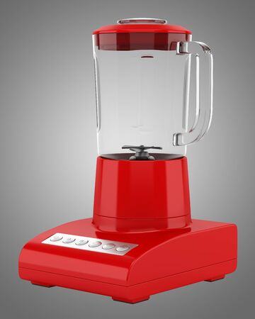 countertop: red countertop blender isolated on gray background Stock Photo