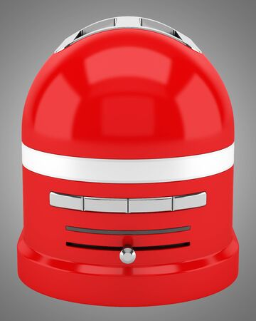 isolated on gray: red toaster isolated on gray background