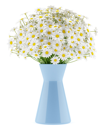 daisies: daisies in blue vase isolated on white background Stock Photo