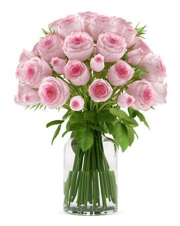 pink and green: bouquet of pink roses in glass vase isolated on white background