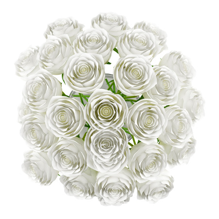 white rose: top view of roses in glass vase isolated on white background
