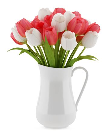 flowers in vase: tulips in jug isolated on white background. 3d illustration