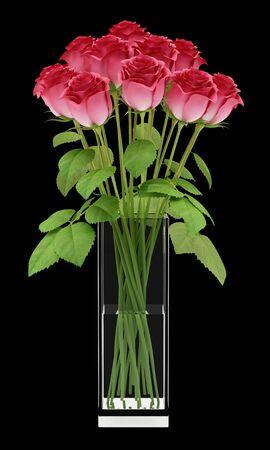 ramo de flores: rosas rojas en el jarrón de cristal aislado en fondo negro. 3d ilustración