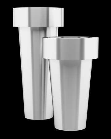 black metallic background: two metallic vases isolated on black background