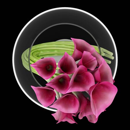 lily flowers: top view of calla lilies in glass vase isolated on black background Stock Photo