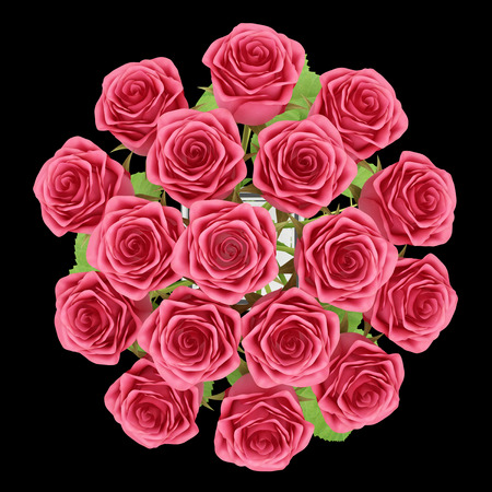 red rose bouquet: top view of red roses in glass vase isolated on black background. 3d illustration Stock Photo
