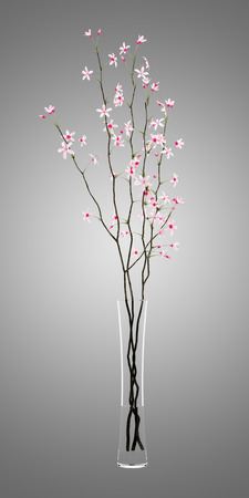 twigs: flowering tree twigs in glass vase isolated on gray background. 3d illustration