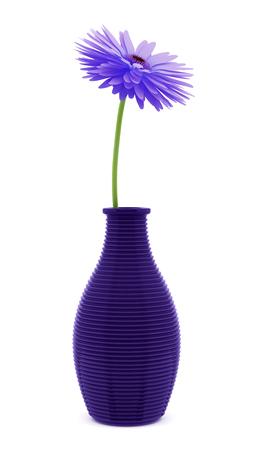 3d flower: purple flower in vase isolated on white background. 3d illustration