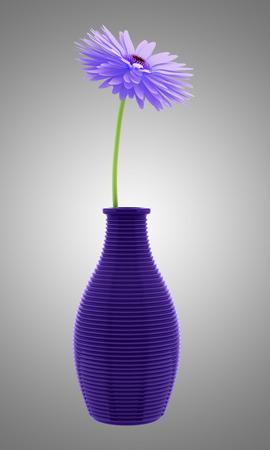 3d flower: purple flower in vase isolated on gray background. 3d illustration
