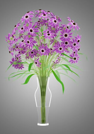 nosegay: purple flowers in glass vase isolated on gray background. 3d illustration